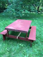 Table de picnic portative vintage en bois