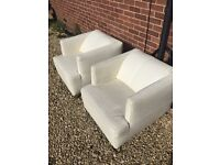 Pair of Tom Arm Chairs in Leather - Trentino White