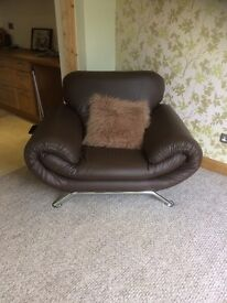 Brown faux leather 2 seater sofa & chair