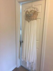 Full white gown with champagne beaded bodice - size 12