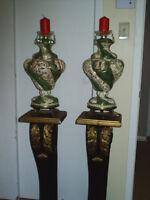2 podiums et chandelliers en porcelaine ditalie p reduit
