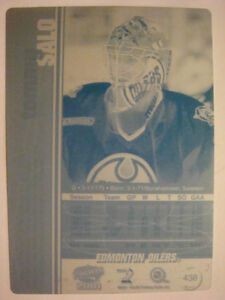2000-01 Pacific #438 Tommy Salo back Printing Plate!