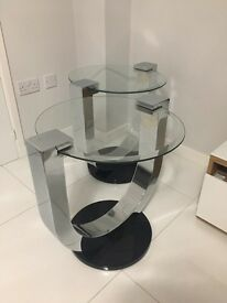 Mirrored Chrome & Glass Side Tables
