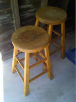 "Vintage Solid Wood Lab Bar Stools – Height = 26"" Diameter = 13"""
