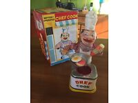 Japanese vintage tin toy original chef cook, fully working.