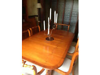 Yew extendable dining table, seats 8 with 6 matching chairs. Other matching items available, diff ad