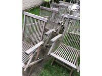 6 teak garden chairs