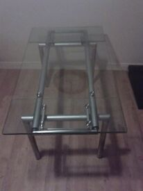 Extendable Glass Table with 3 Black Chairs