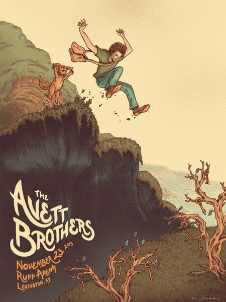 The Avett Brothers 11/23/13 Poster Lexington KY Signed & Numbered #/200 Rare!!!
