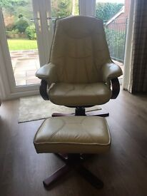 Wonderfully comfortable cream leather relaxing swivel chair with footstool