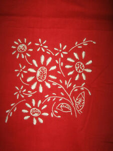 BRILLIANT SCARLET 36-IN. SQ.TABLE CLOTH with EMBROIDERED TRIM
