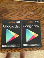 2 Google Play gift cards, apps moves book, more, never redeemed