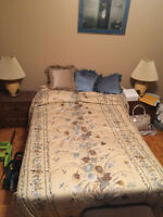BEDROOM SET, END TABLE, LAMPS, DRESSER, BED COVERING, SHEETS ET.