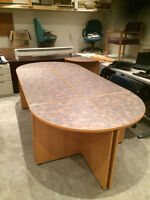 Corcan 9ft oak laminate boardroom / conference table