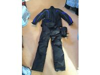 Motor bike trousers jacket and gloves