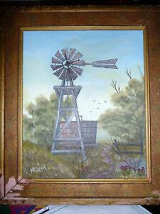 """D. McLeod """"OldTimer"""" Vintage Oil Painting 1987"""