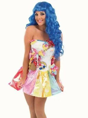 Katy Perry Costum (Ladies Katy Perry Candy Queen Sweet fancy dress costume Music Pop Star Plus)