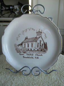 THREE DECORATIVE OLD VINTAGE CHINA CHURCH PLATES
