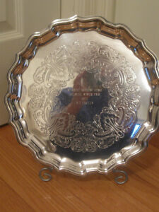 2 DECORATIVE OLD SILVER VIKING PLATED FLUTED-EDGED SERVING TRAY
