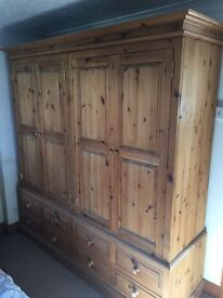 Solid antique waxed pine quad wardrobe 7ft length