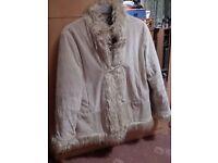 Ladies cream faux coat.