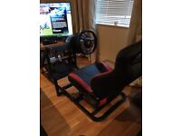 X box one racing cockpit wheel pedals leather chair
