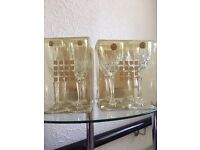 x4 flute champagne & x4 large wine glasses 24% cut lead crystal