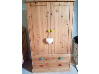 Child's wardrobe and chest of drawers set