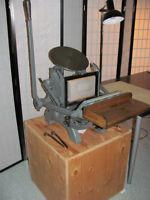Équipements pour petit studio d'imprimerie (Letterpress)