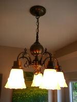 """Superbe lustre antique/1950 styleVictorien h24""""x16"""" vieux laiton"""