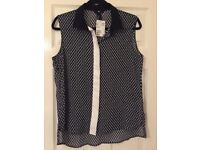 Ladies h&m black patterned sheer top £5 brand new size 14