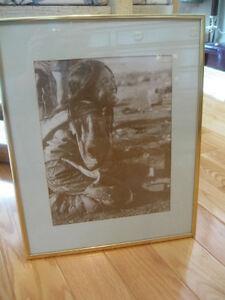 PAIR of MATCHING PROFESSIONALLY FRAMED NATIVE INDIAN PRINTS...