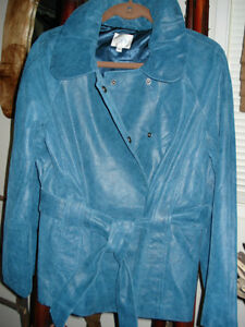 Brand New Ladies Turquoise Distressed Leather  Jacket w/ Belt