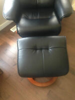 Black Leather look recliner chair and ottoman