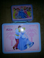 2 STEEL COLLECTIBLE DISNEY LUNCH BOX TINS WITH GOODIES ONLY9$