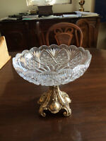 **** ANTIQUE CRYSTAL BOWL WITH SOLID BRASS BASE*****