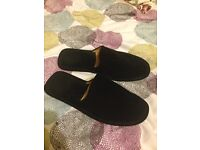 Men's black leather slippers size 10