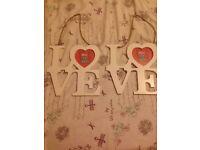 2 love heart hanging frames
