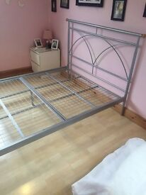 Silver effect Double bed frame