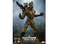 Official Collectable Rocket and Groot. Hot Toys. Sideshow Collectables.
