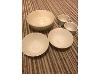 White ceramic bowl set (5 pieces)