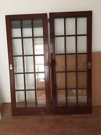 2 x 15 pane hardwood doors