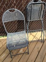 2 steel folding chairs