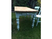 Country pine table with drawer and with 4 chairs