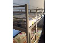 Silver bunk beds.
