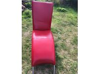 Red leather arc chaise or TV game chair used