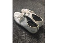 White leather-style Fred perry pumps. Size 5