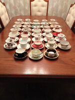 28 assorted Bone China Cups & Saucers from 1960's & prior