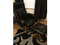 Black Leather Recliner and Footstool