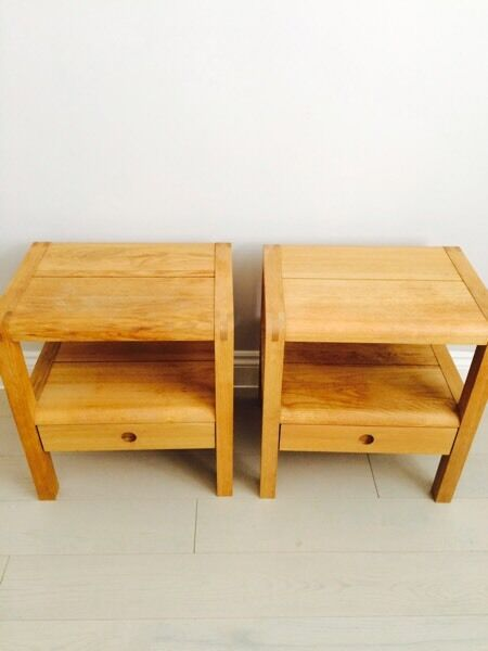 set of two habitat radius oak bed side table | in leigh-on-sea